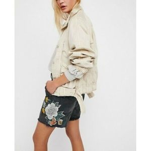 New Free People Embroidered Scout Short Floral